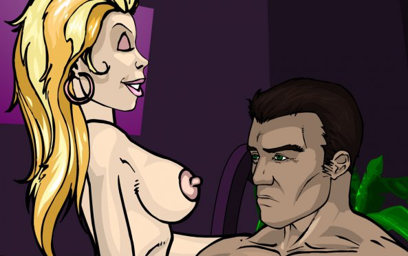 Officer Krupt and his girlfriend, erotic flash game Officer Krupt 2