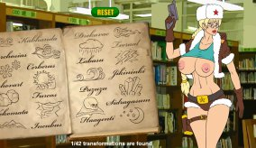 Transformation in Lara Croft, erotic flash game Meet'N'Fuck Magic Book