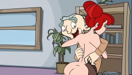 Ernie and naked Nursie, heroes of the erotic flash game The Dirty Ernie Show 3