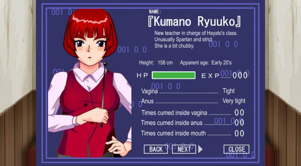Erotic flash game Robozou — protagonist's teacher stats