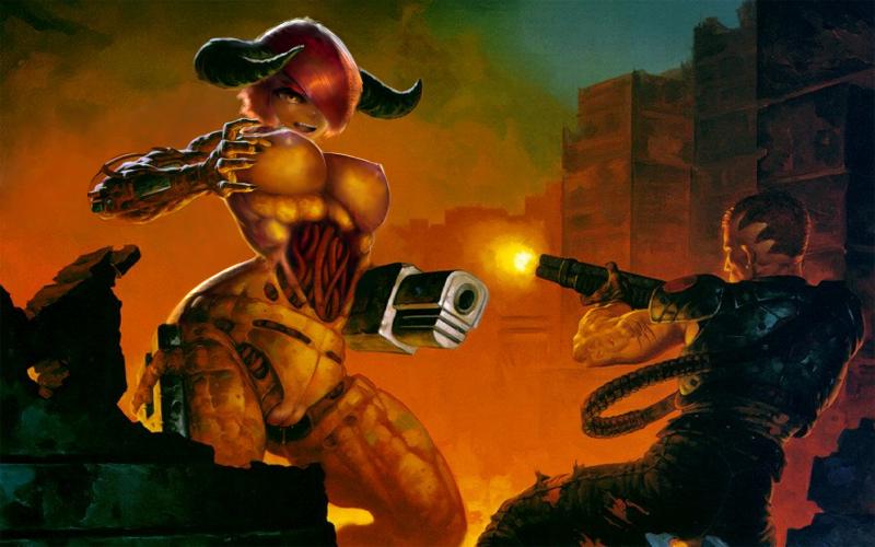Обнаженная девушка-кибердемон (Doom)