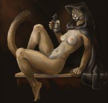 Обнаженная девушка хаджит (Morrowind)